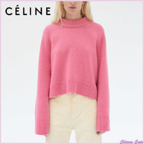CELINE Crew Neck Short Casual Style Cashmere Long Sleeves Plain