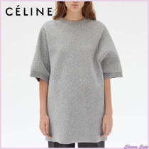 CELINE Crew Neck Casual Style Wool Plain Medium Short Sleeves