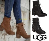 UGG Australia Round Toe Lace-up Casual Style Plain Leather Block Heels