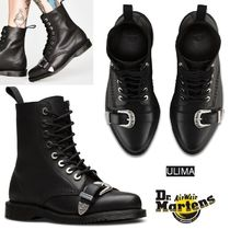 Dr Martens Rubber Sole Lace-up Blended Fabrics Plain Leather