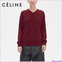 CELINE Short Wool V-Neck Long Sleeves Plain Elegant Style Bold