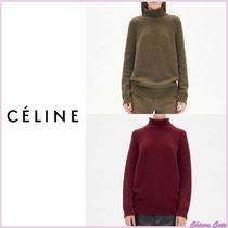 CELINE Casual Style Cashmere Long Sleeves Plain Medium Bold