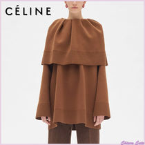 CELINE Wool Long Sleeves Plain Medium Oversized Elegant Style