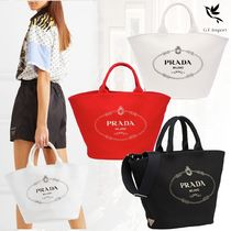 PRADA CANAPA Casual Style Canvas Street Style 2WAY Totes