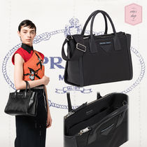 PRADA CONCEPT  Blended Fabrics 2WAY Plain Leather Office Style Totes