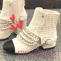 CHANEL Tweed Block Heels Elegant Style Ankle & Booties Boots