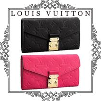 Louis Vuitton MONOGRAM EMPREINTE Monogram Studded Plain Leather Long Wallets