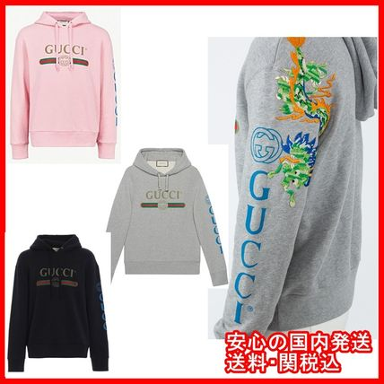 GUCCI Hoodies Pullovers Unisex Street Style Long Sleeves Cotton Hoodies