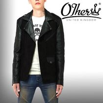 Other UK Short Street Style Plain Leather Biker Jackets