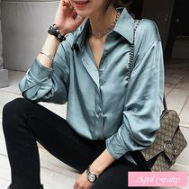 Long Sleeves Plain Elegant Style Shirts & Blouses
