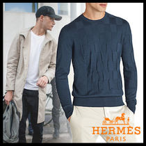 HERMES Crew Neck Pullovers Cashmere Long Sleeves Plain