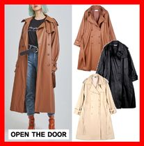 OPEN THE DOOR Unisex Street Style Trench Coats