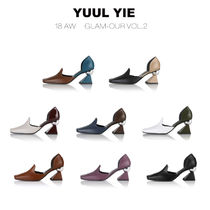 Square Toe Plain Leather Office Style Pumps & Mules