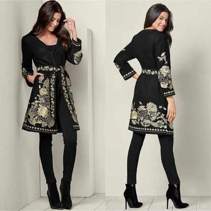 Flower Patterns Medium Elegant Style Wrap Coats
