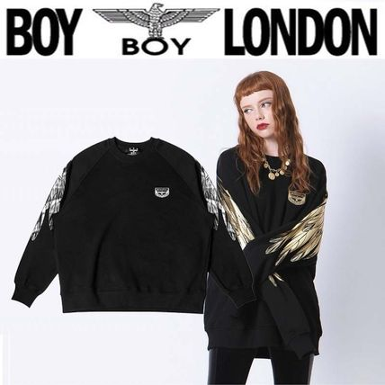 BOY LONDON Sweatshirts Crew Neck Pullovers Unisex Street Style Long Sleeves