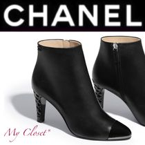 CHANEL Open Toe Street Style Plain Leather Block Heels Handmade