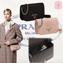 PRADA DIAGRAMME Blended Fabrics 2WAY Chain Plain Leather Party Style