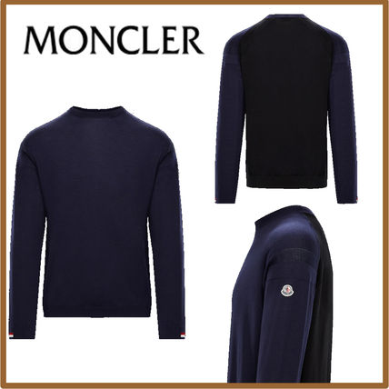 MONCLER Knits & Sweaters Crew Neck Wool Blended Fabrics Long Sleeves Plain