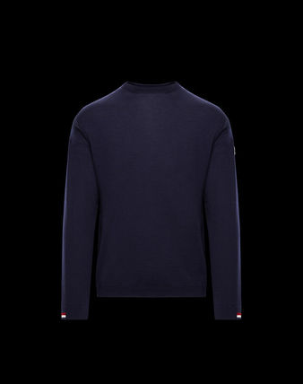 MONCLER Knits & Sweaters Crew Neck Wool Blended Fabrics Long Sleeves Plain 2