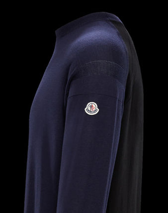 MONCLER Knits & Sweaters Crew Neck Wool Blended Fabrics Long Sleeves Plain 4