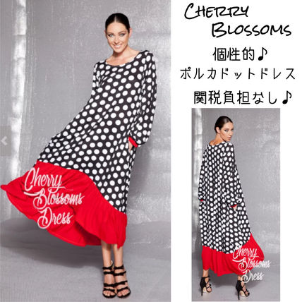 Dots Maxi Long Sleeves Long Party Style Dresses