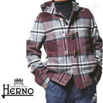 HERNO Short Other Check Patterns Wool Duffle Coats