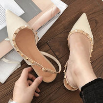 Casual Style Faux Fur Plain Pointed Toe Shoes