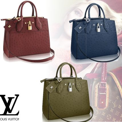 Ostrich Leather Plain Elegant Style Totes