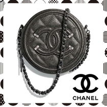CHANEL Lambskin Chain Plain Elegant Style Clutches
