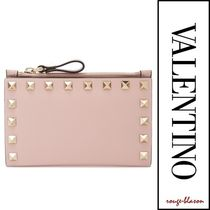 VALENTINO Studded Plain Card Holders