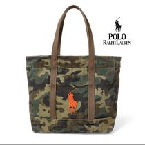 Ralph Lauren Camouflage Canvas Street Style A4 Totes