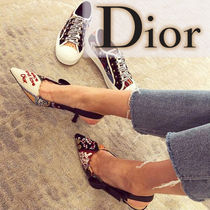 Christian Dior Blended Fabrics Leather Pin Heels Elegant Style