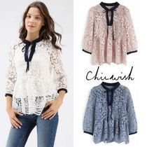 Chicwish Flower Patterns Casual Style Peplum Cropped Plain Lace