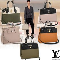 Louis Vuitton 2WAY Plain Leather Office Style Totes