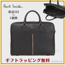 Paul Smith Stripes Unisex A4 2WAY Plain Leather Business & Briefcases