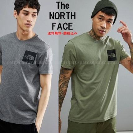 THE NORTH FACE Crew Neck Crew Neck Street Style Plain Cotton Short Sleeves