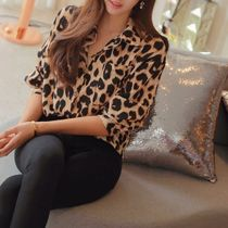 TOM&RABBIT Leopard Patterns Casual Style Long Sleeves Shirts & Blouses