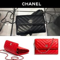 CHANEL Studded 3WAY Chain Plain Leather Elegant Style Shoulder Bags