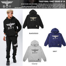 BOY LONDON Pullovers Unisex Studded Long Sleeves Cotton Hoodies
