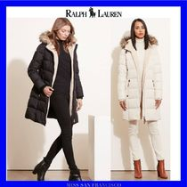 Ralph Lauren Faux Fur Plain Long Down Jackets