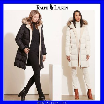 Faux Fur Plain Long Elegant Style Down Jackets