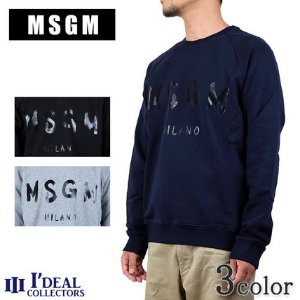 MSGM Sweatshirts Crew Neck Pullovers Long Sleeves Cotton Sweatshirts