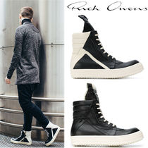RICK OWENS Street Style Plain Leather Oversized Sneakers