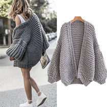 Cable Knit Casual Style Wool Plain Medium Oversized