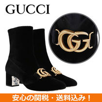 GUCCI Square Toe Casual Style Suede Plain Chunky Heels