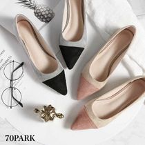 Casual Style Suede Plain Pointed Toe Pumps & Mules