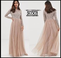 ASOS A-line Blended Fabrics Long Sleeves Plain Long With Jewels