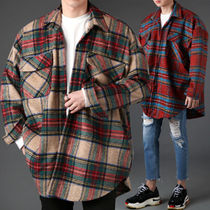 Short Other Check Patterns Street Style Oversized Coats