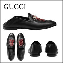 GUCCI Plain Toe Street Style Plain Other Animal Patterns Leather