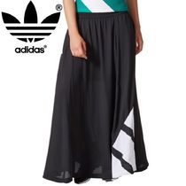 adidas Flared Skirts Casual Style Street Style Plain Long